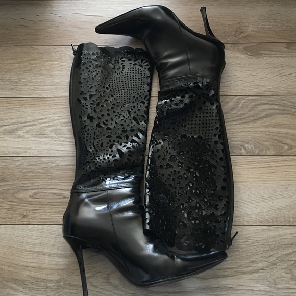 Casadei Shoes - Casadei Lacey punctured leather heel boots