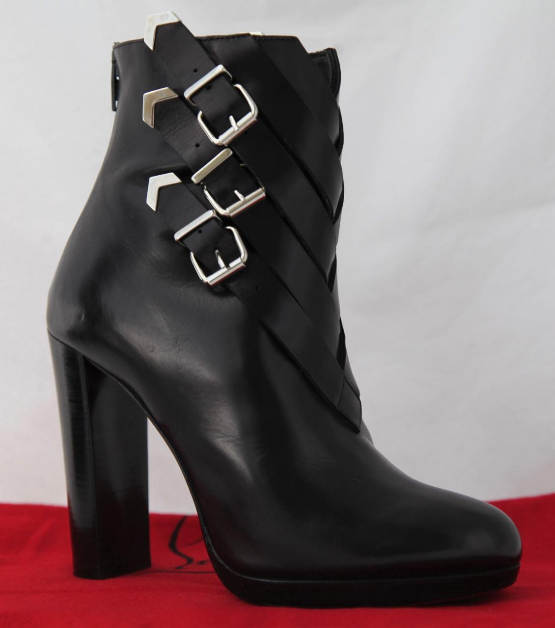 brand new d156c de9cc christian-louboutin-black-troop-silver-buckles-high-heel-red ...