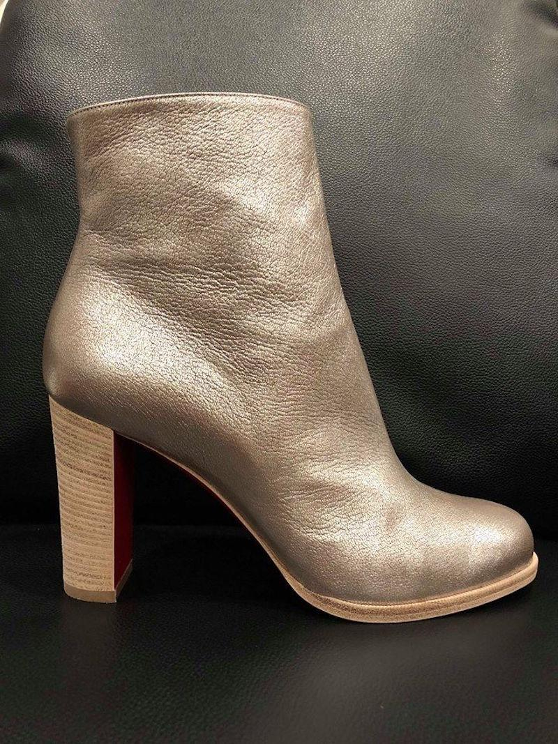 new concept cc8f5 ecb77 Christian Louboutin Silver Adox 85 Metallic Heel Ankle Boots ...
