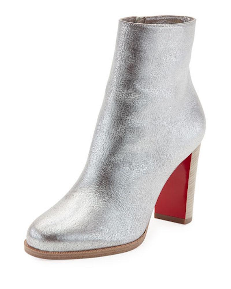 new concept 95400 ad860 Christian Louboutin Silver Adox 85 Metallic Heel Ankle Boots ...